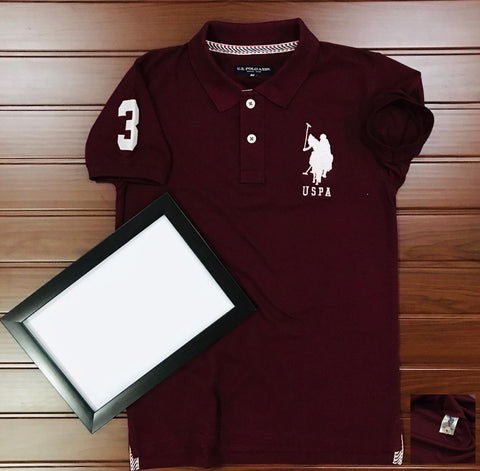 Burgandy Color Cotton Men's Solid Tshirt - KMI-USPA-9