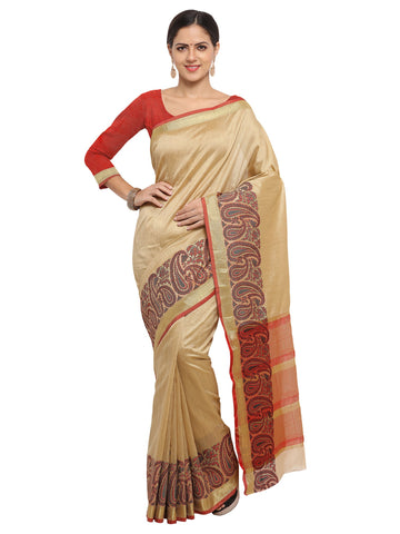 Beige Color Banarasi Silk Saree - KNDS29004