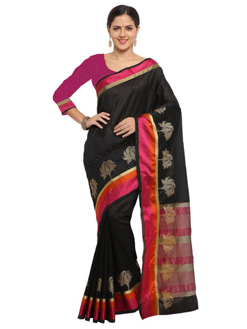 Black Color Banarasi Silk Saree - KNDS29005