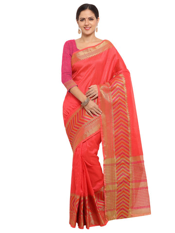 Peach Color Banarasi Silk Saree - KNDS29006