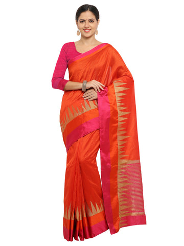 Orange Color Banarasi Silk Saree - KNDS29010