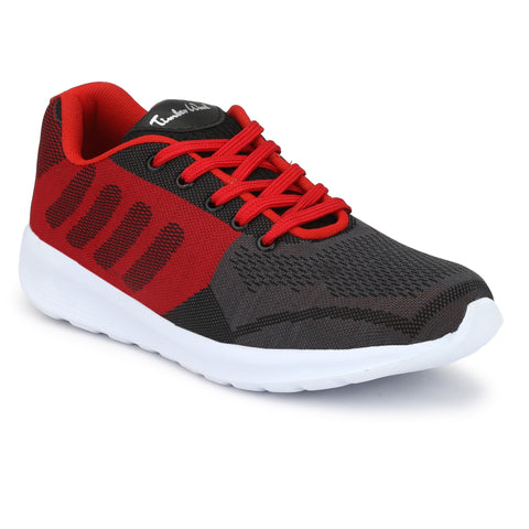 Grey and Red Color FlyKnit Men Gym Shoe - KNITGREY-RED