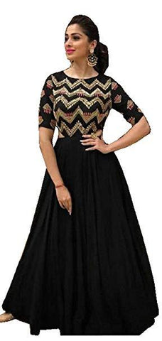 Black Color Rayon Women's Stitched Kurti - KNK_BLACK_LONG_KURTI