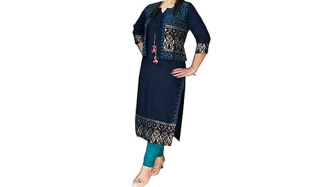 Blue Color Rayon Women's Stitched Kurti - KNK_BLUE_JACKET_KURTI