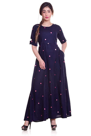 Blue Color Rayon Women's Stitched Kurti - KNK_BLUE_MIRROR_KURTI