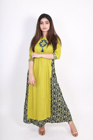 Green Color Rayon Women's Stitched Kurti - KNK_GREEN_DOUBLE_LAYER_KURA