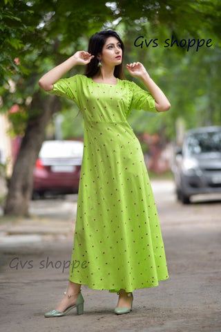 Green Color Rayon Women's Stitched Kurti - KNK_GREEN_MIRROR_KURTI