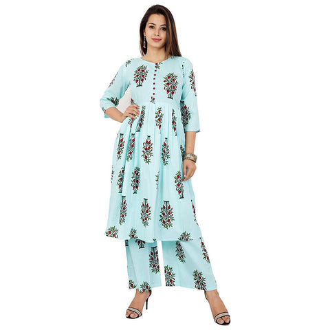 Light Green Color Cotton Women's Stitched Kurti - KNK_LG_KURTI_PALAZO