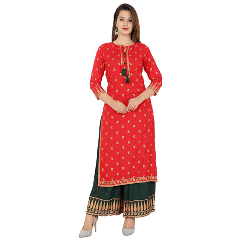 Red Color Rayon Women's Stitched Kurti - KNK_RED_GREEN_KURTI_PALAZO
