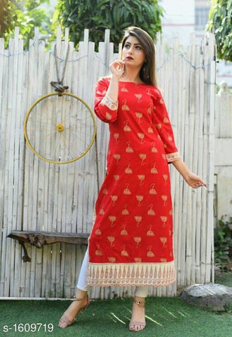 Red Color Rayon Women's Stitched Kurti - KNK_RED_KURTI