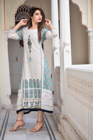 White Color Cotton Women's Stitched Kurti - KNK_WHITE_KURTA