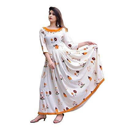 White Color Rayon Women's Stitched Kurti - KNK_WP_R
