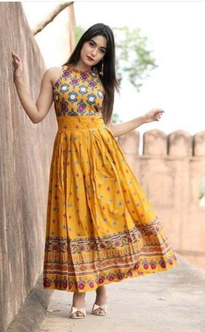 Yellow Color Cotton Women's Stitched Kurti - KNK_YELLOW_COLORFUL_ANARKALI