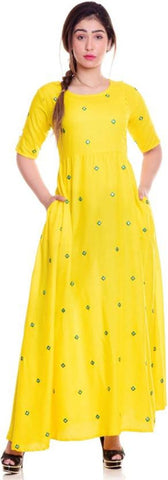 Yellow Color Rayon Women's Stitched Kurti - KNK_YMW_001