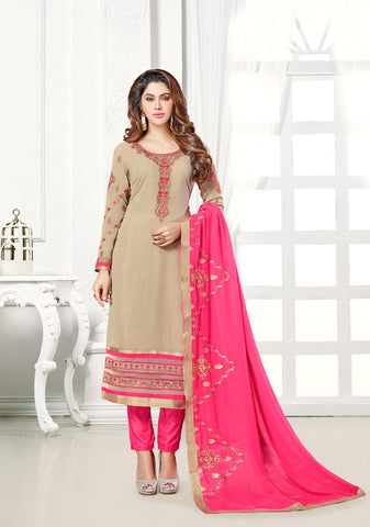 Beige Color Georgette UnStitched Salwar - KOMONIKA-1001