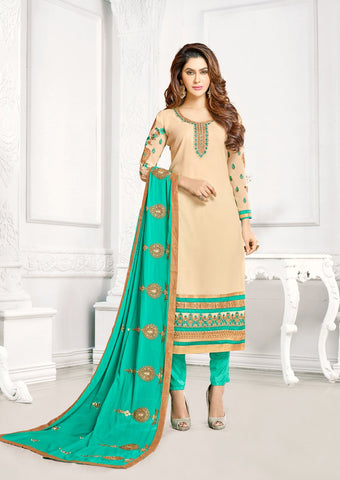 Beige Color Georgette UnStitched Salwar - KOMONIKA-1003