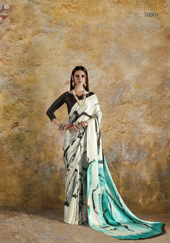 Off White and SeaGreen Color Crepe Saree - KONKN70001