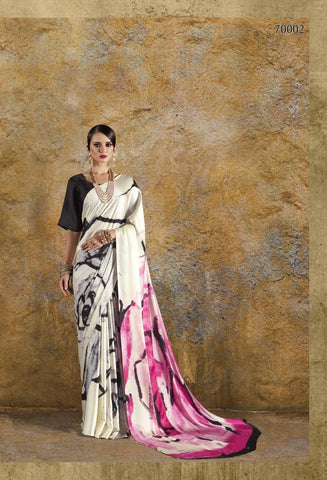 OffWhite and Pink Color Crepe Saree - KONKN70002