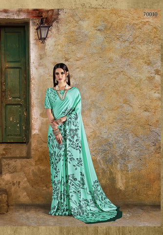 Sea Green Color Crepe Saree - KONKN70010