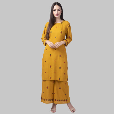 Mustard Color Rayon Women's Kurti with Palazzo Set - KP-04