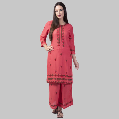 Peach Color Rayon Women's Kurti with Palazzo Set - KP01