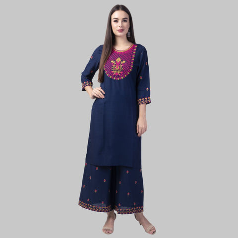 Blue Color Rayon Women's Kurti with Palazzo Set - KP02-BLUE