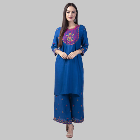 Navy Blue Color Rayon Women's Kurti with Palazzo Set - KP02-NAVYBLUE