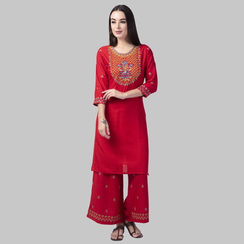 Red Color Rayon Women's Kurti with Palazzo Set - KP02-RED
