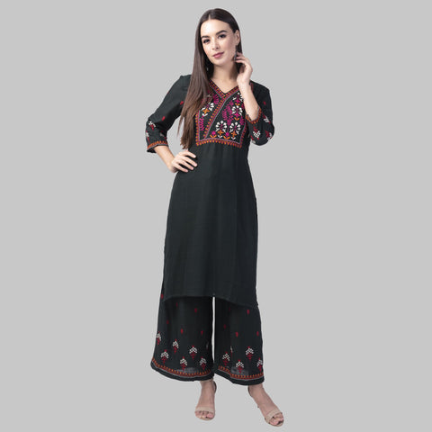 Black Color Rayon Women's Kurti with Palazzo Set - KP03-BLACK