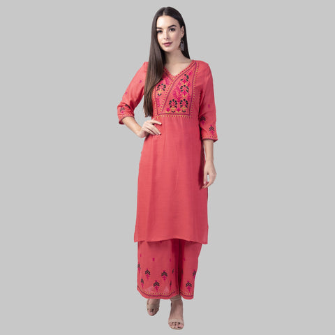 Peach Color Rayon Women's Kurti with Palazzo Set - KP03-PEACH