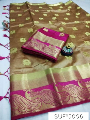 Coffee and Pink Color Pure Raw Silk Saree - KRD-10