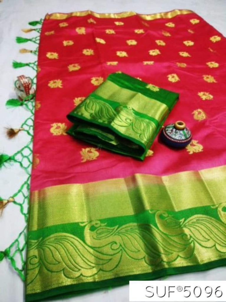Buy Rani and Green Color Pure Raw Silk Saree