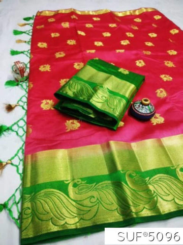Rani and Green Color Pure Raw Silk Saree - KRD-11