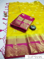Buy Yellow and Pink Color Pure Raw Silk Saree