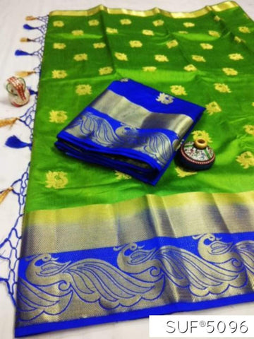 Green and Blue Color Pure Raw Silk Saree - KRD-13