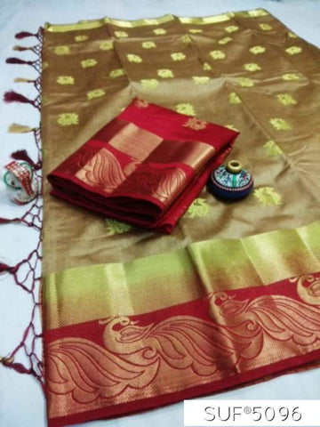 Coffee and Maroon Color Pure Raw Silk Saree - KRD-14