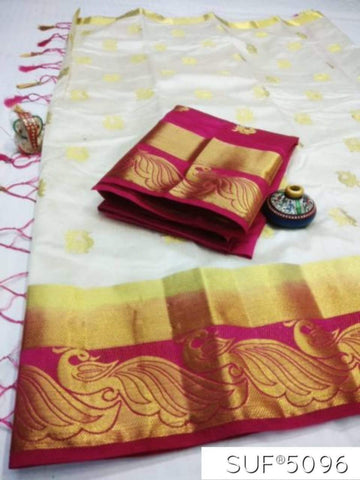 White and Pink Color Pure Raw Silk Saree - KRD-15