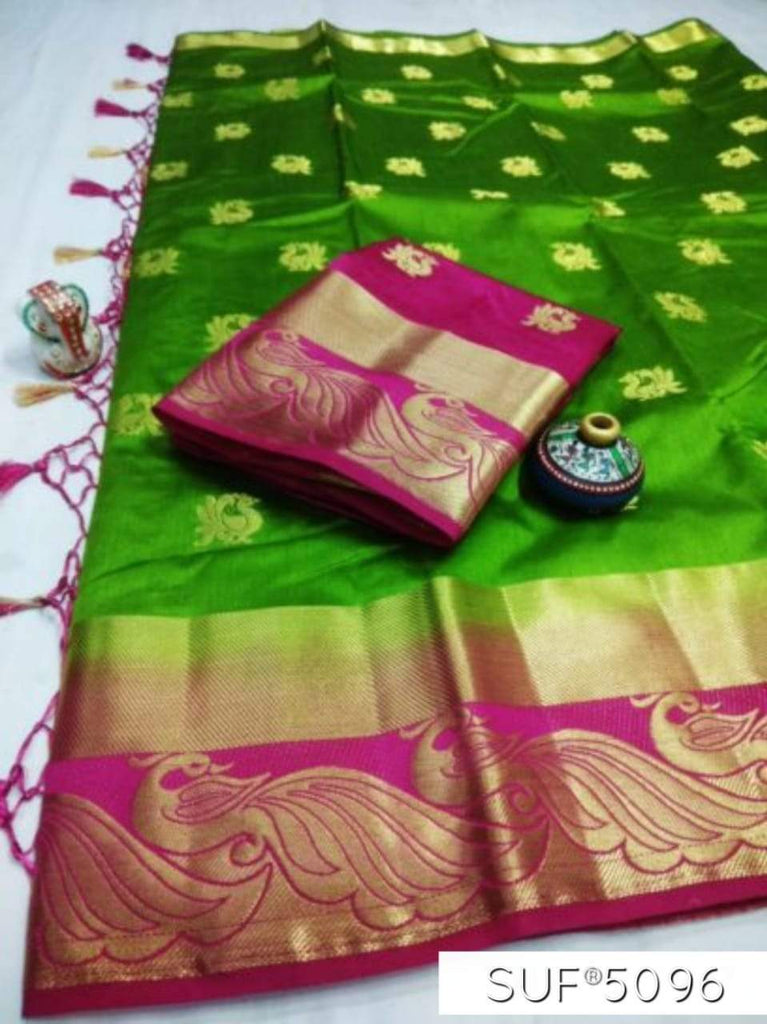 Buy Green and Pink Color Pure Raw Silk Saree