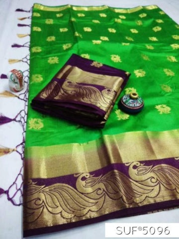 Green and Blue Color Pure Raw Silk Saree - KRD-17