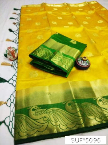 Yellow and Green Color Pure Raw Silk Saree - KRD-8
