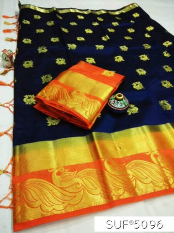 NavyBlue and Orange Color Pure Raw Silk Saree - KRD-9