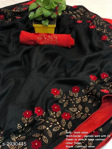Black Color Sana Silk Women's Saree - KRISHNA-kl-11