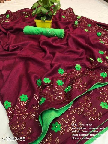 Maroon Color Sana Silk Women's Saree - KRISHNA-kl-14