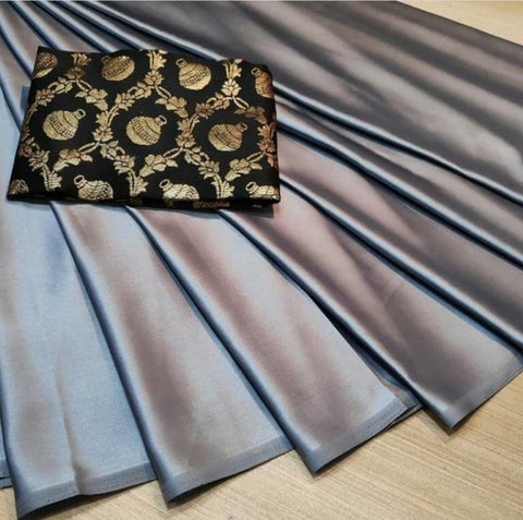 Grey Color Satin Silk Women's Plain Saree - KRISHNA-kl-15