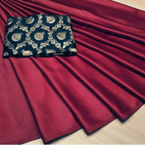 Maroon Color Satin Silk Women's Plain Saree - KRISHNA-kl-17