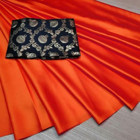 Orange Color Satin Silk Women's Plain Saree - KRISHNA-kl-18