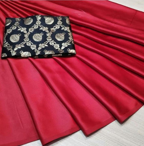 Red Color Satin Silk Women's Plain Saree - KRISHNA-kl-19