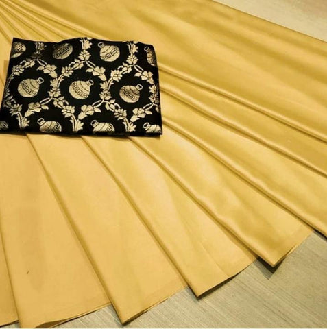 Yellow Color Satin Silk Women's Plain Saree - KRISHNA-kl-20