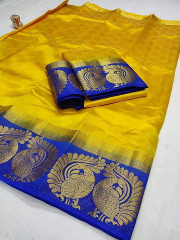 Yellow Color Tussar Silk Women's Saree - KRISHNA-kl-22