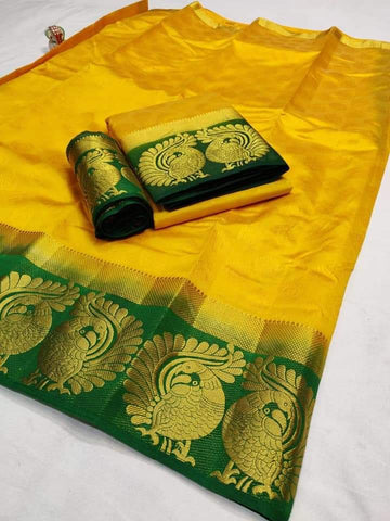 Yellow Color Tussar Silk Women's Saree - KRISHNA-kl-24